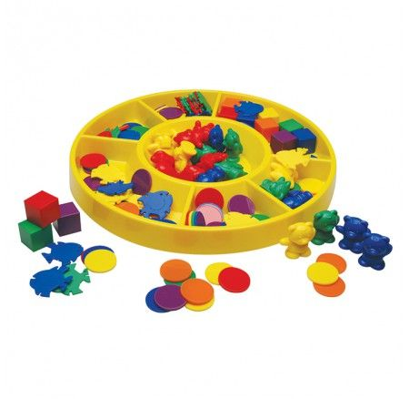 First Sorting Tray Set Coloured Plastic Cubes Round